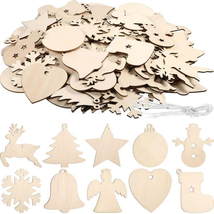 120 peças inacabados ornamentos de madeira de natal enfeites de suspensão enfeites artesanato para diy, natal pendurado decorat