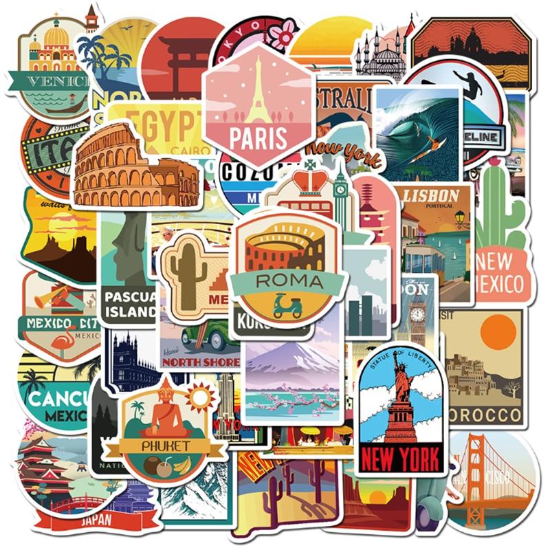 AliExpress - 10/30/50 PCS travel city landscape sticker mobile phone case skateboard luggage waterproof graffiti sticker toy wholesale