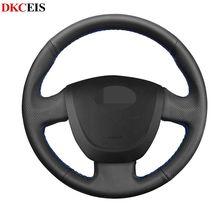 Housse de volant de voiture en cuir artificiel souple noir cousu main bricolage pour Lada Granta 2011-2018