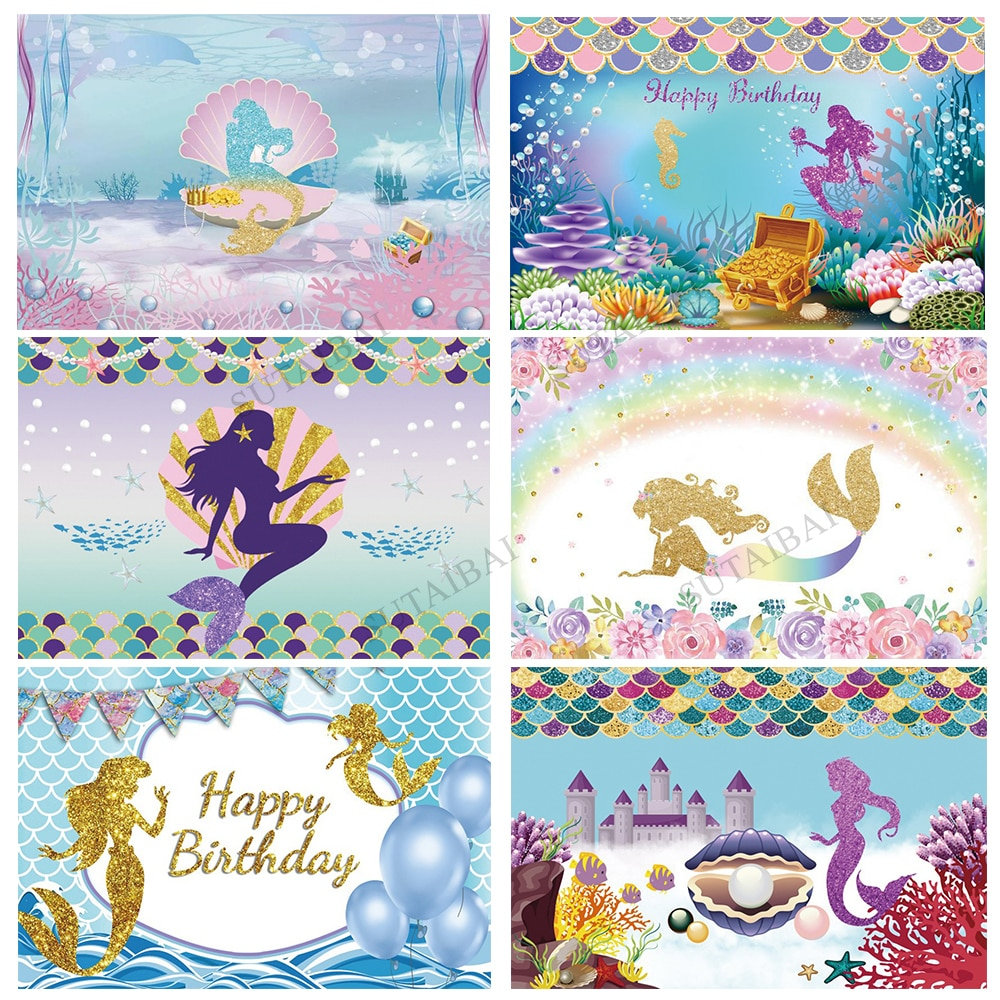 Little Mermaid Princess Under Sea Bed Shell Pearl Corals Photography Backdrop Baby Shower Birthday Party Photo Background Studio