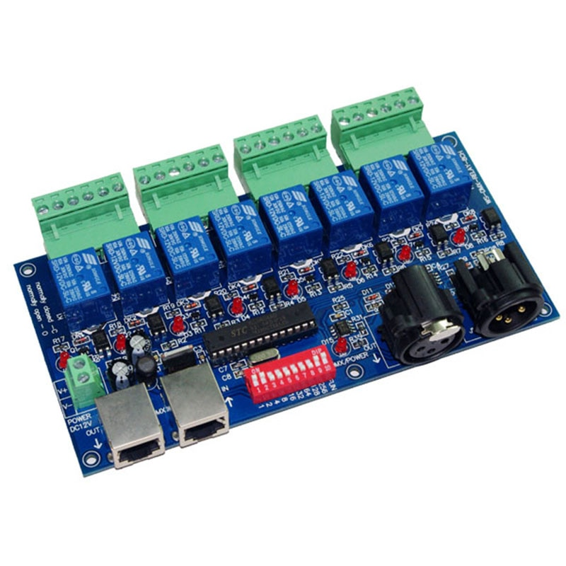 8 channe Relay switch dmx512 Controller, relay output,DMX512 relay control,8way relay switch,10A*8CH led light controller