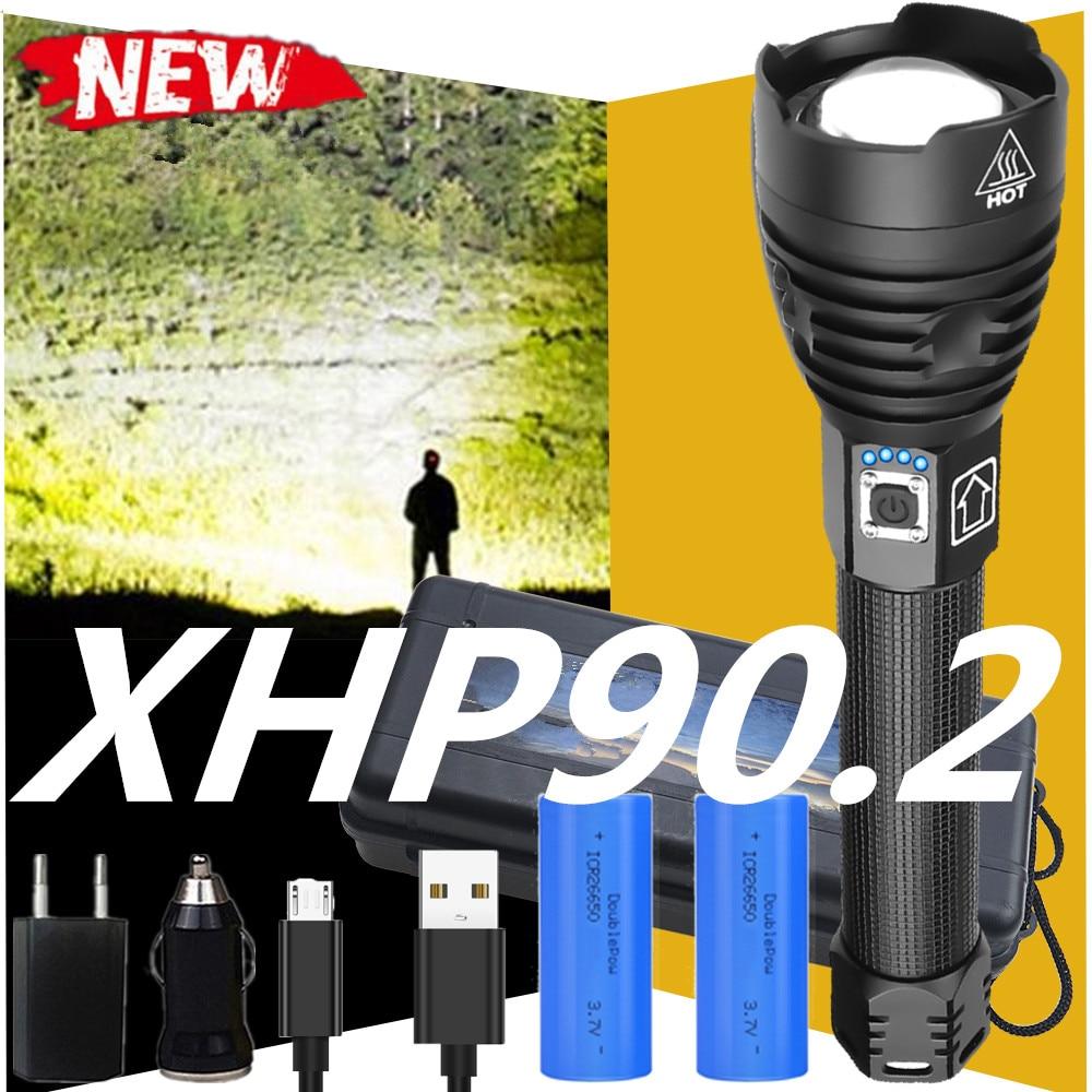 ¡Novedad de 250000! Linterna LED brillante XHP90.2, linterna LED de 18650 o 26650 USB, linterna XHP70 XHP50 de caza, lámpara de mano