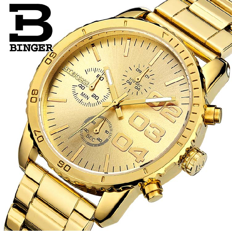BINGER أفضل ماركة ساعات رياضية غير رسمية للرجال الفاخرة العسكرية الصلب ساعة معصم رجل ساعة الموضة كرونوغراف ساعة اليد