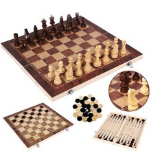 3 IN 1 Foldable Wooden Toy International Chess Set Wooden Chess Board Games Checkers Puzzle Game Engaged Birthday Gift For Kids