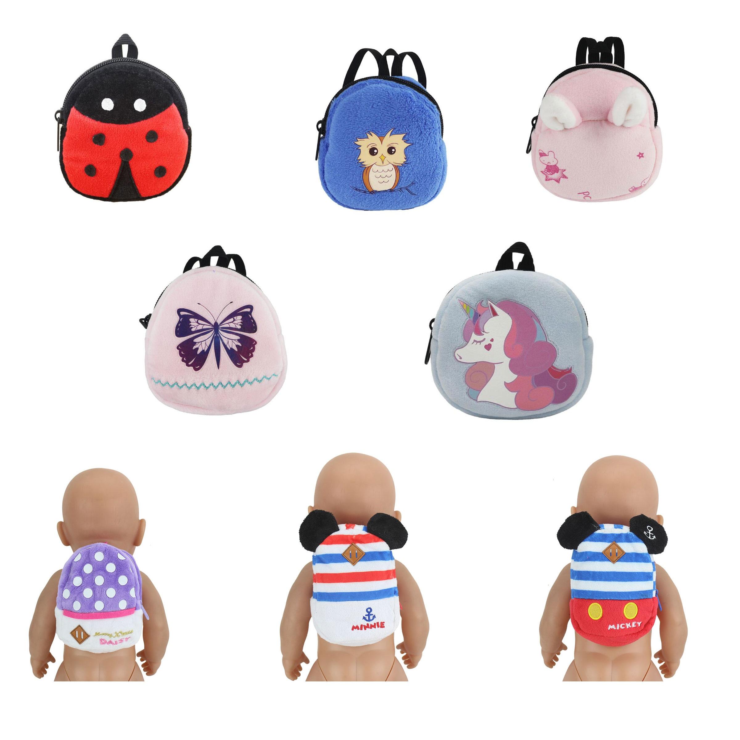Новый Модный милый рюкзак, аксессуары для кукол, розовая сетка, одежда для подушки, подходит для куклы 43 см (продается только сумка)