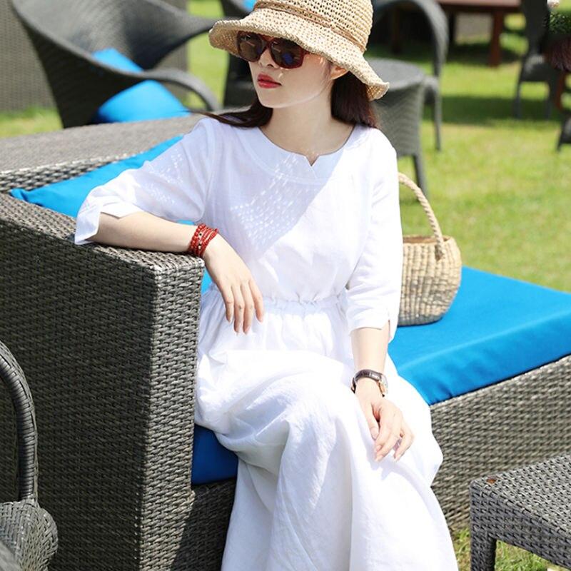 Frauen Kleid 2020 Herbst Böhmischen Lange Leinen Baumwolle Kleider Weiß O Neck Slit Manschette EIN-Linie Kordelzug Taille Urlaub stil Kleidung