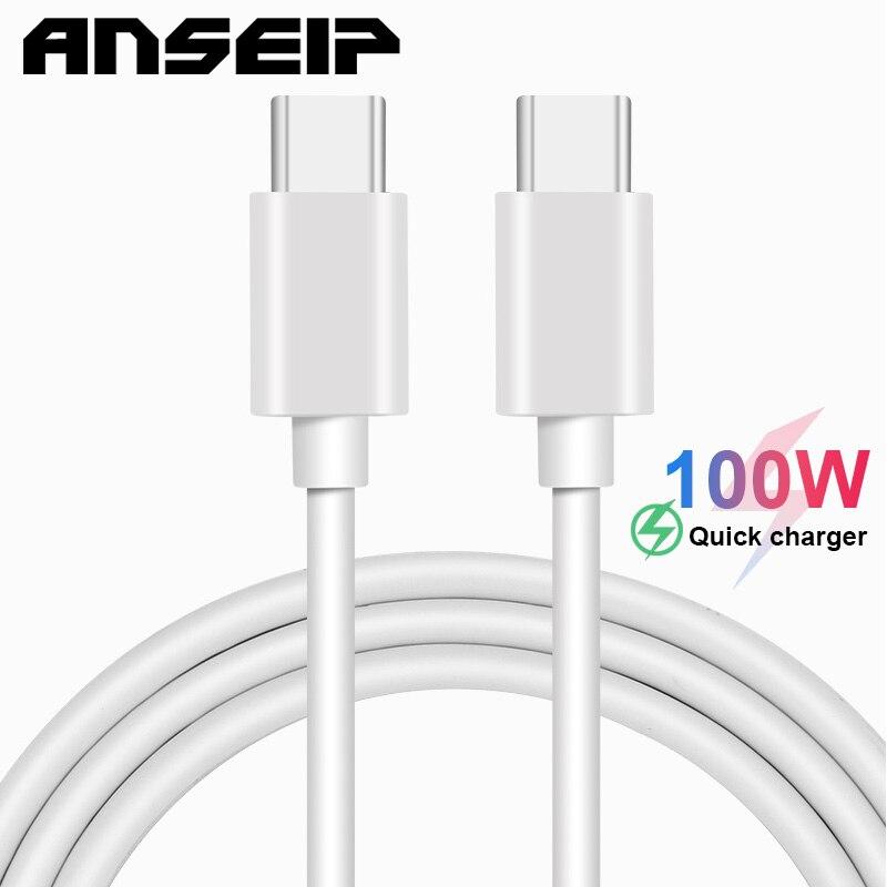 ANSEIP-Cable de carga USB 5A, Cable de datos tipo C a tipo...