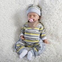 18 corps en Silicone complet renaître bébé fille prendre une sucette poupée en Silicone réaliste