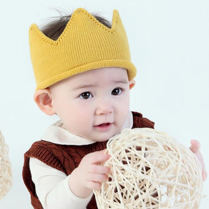 Baby Hat Crown Accessories Newborn Photography Boy  Girl Autumn Winter Knit Turban Infant Toddler Headband