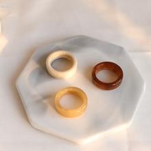 AOMU 2020 Neue Vintage Mode Harz Ring Breit Elfenbein Farbe Acryl Ringe Für Mädchen Schmuck Geschenk