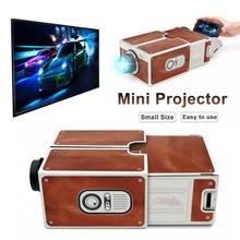 Mini Portable 3D Cardboard Adjustable Mobile Phone Projector Smartphone Projector Light Novelty  Hou