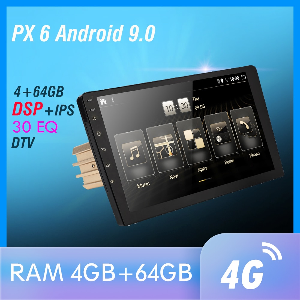 1 din DSP Android 9 PX6 Multimedia DVD Video Player GPS Navigation Car Radio Stereo Wifi BT HDMI Carplay TV OBD DAB SWC 4G+64G
