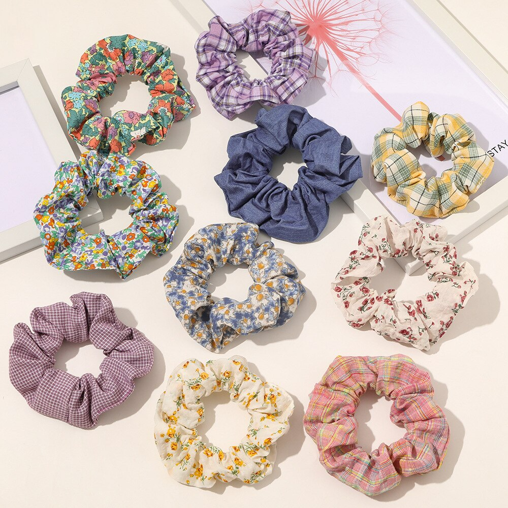 Vintage Designs British England Pattern Women Cotton Scrunchies Retro Flowers Hair Accessories Girls Vsco Sweet Schrunchies