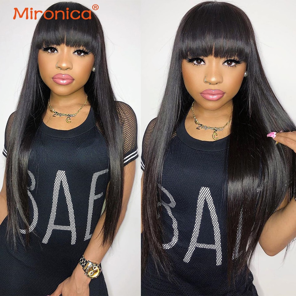 Straight Wholesale Human Hair Wigs With Bangs Full Machine Made 100% Remy Human Hair Wigs For Women