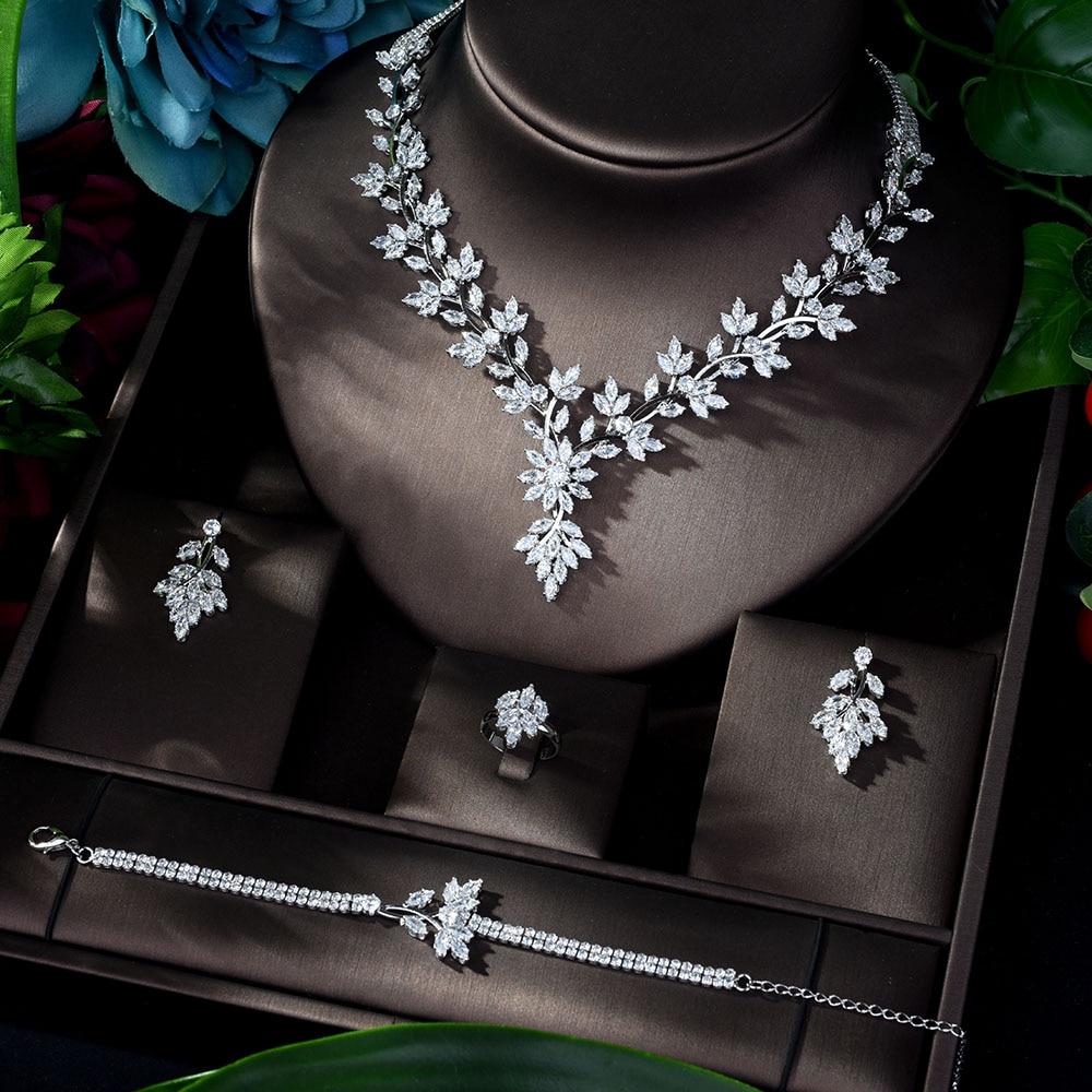 HIBRIDE سوبر الفاخرة أوراق يترك كامل AAA مكعب زركونيا المرأة فستان الزفاف قلادة القرط مجموعات مجوهرات بيجو فام N-1143