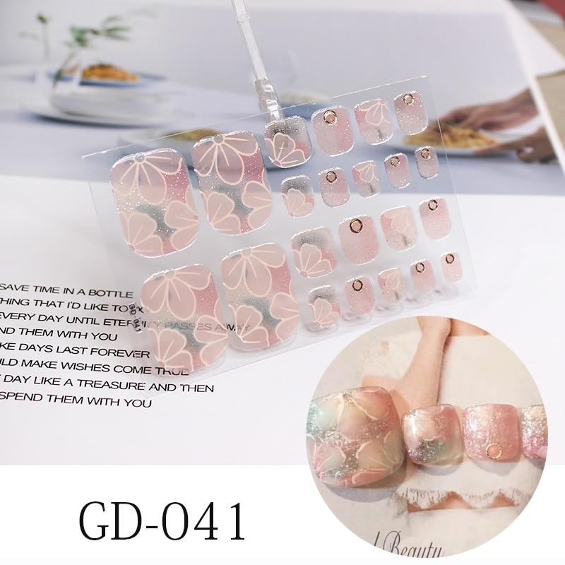 22 dicas novo francês toenail adesivos flores unhas capa completa adesivo envoltórios à prova dwaterproof água manchas brilhando unha filme polonês adesivos