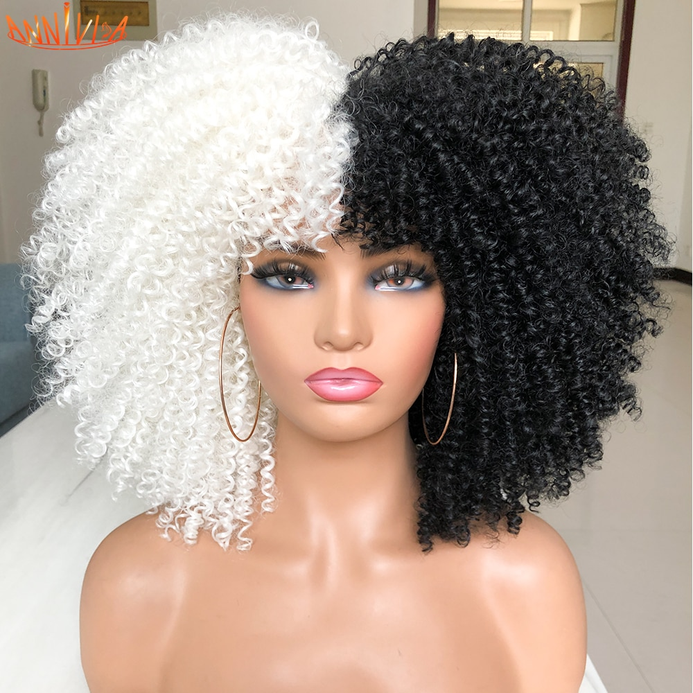 """Short Hair Afro Kinky Curly Wigs With Bangs For Black Women African Synthetic Ombre Glueless Cosplay Wigs 14""""Annivia"""