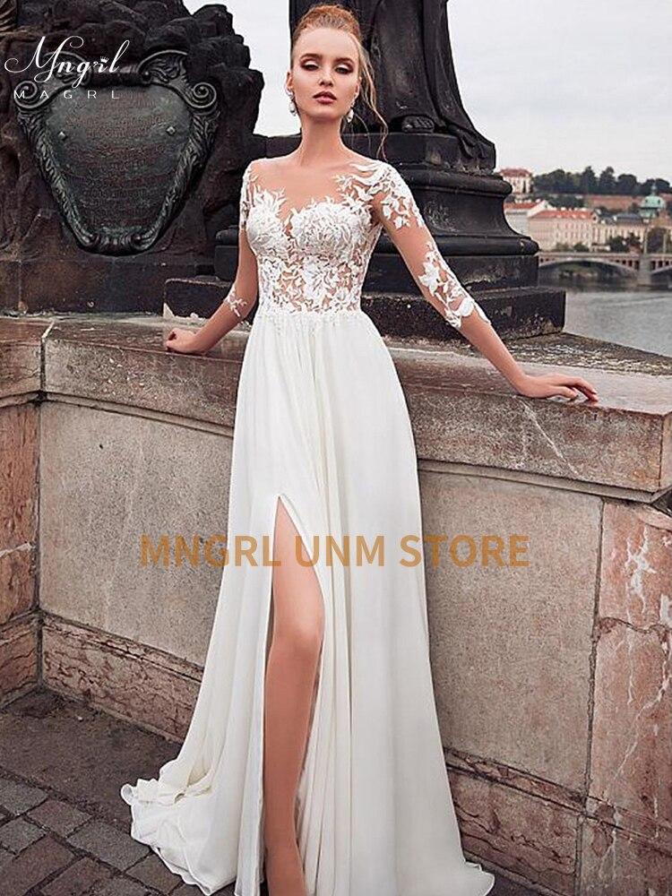 MNGRL فستان زفاف بسيط جديد بدون أكمام تصميم الشيفون الدانتيل فساتين العروس فستان الأميرة بالإضافة إلى حجم خياط