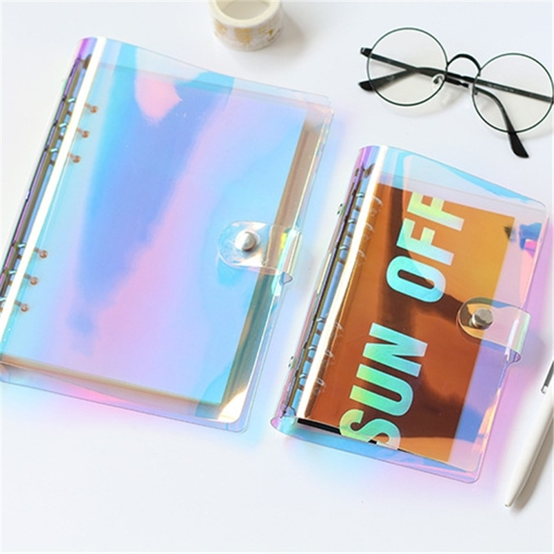 NEW A5 A6 PVC Creative laser binder loose notebook diary loose leaf note book planner office supplies
