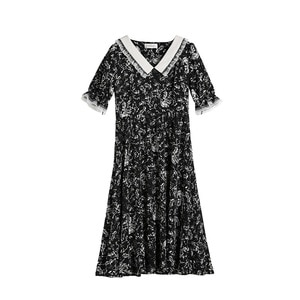 Summer Cute Black 4xl Printed Loose Lace Mid-Length Dress Woman Short Sleeves Floral Plus Size Chic Fashion Offlce Casual Dress