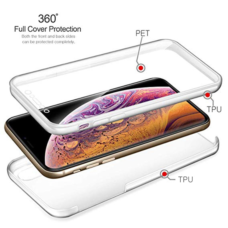 360 Double Full Shockproof phone Case for iPhone 11 Pro XR X XS Max Apple 7 8 6 6s Plus 5 5S SE2020