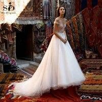 elegant wedding dress 2020 a line sequins lace applique off the shoulder bridal dress tulle wedding gowns vestidos de novia