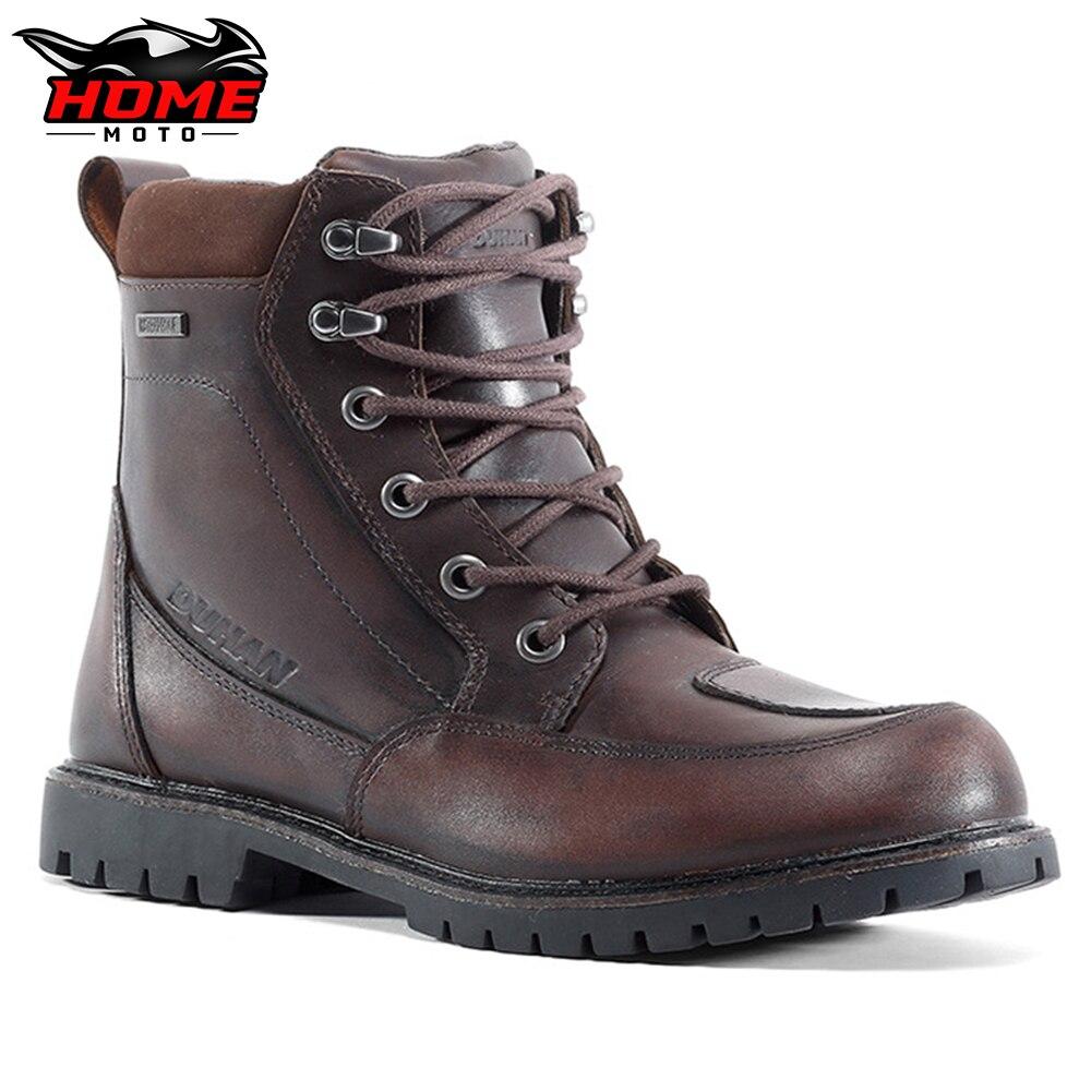 أحذية دراجات نارية من DUHAN للطرق غير قابلة للانزلاق أحذية سباق يمكن ارتداؤها من مواد جلد البقر مقاومة للماء معدات دراجات نارية
