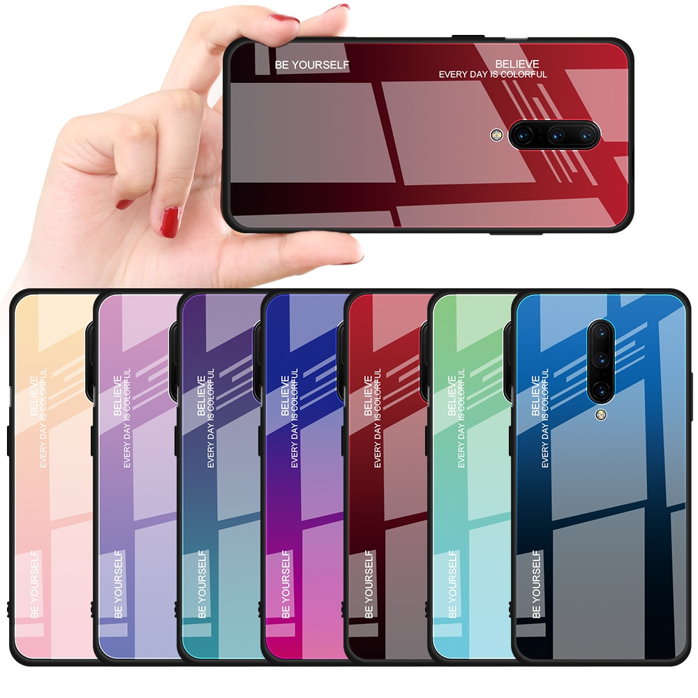 Funda de teléfono de vidrio templado gradiente a prueba de golpes para Oneplus6 6T colorida Coque Capa para Oneplus7 7Pro funda protectora Fundas