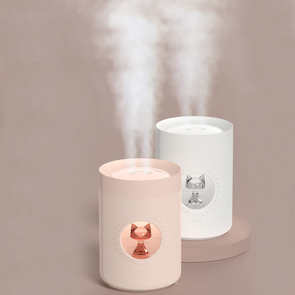 Humidificador de aire ultrasónico Difusor de 800ML doble boquilla lindo gato portátil USB Difusor de Aroma lámpara LED fabricante de niebla de aire Humidificador