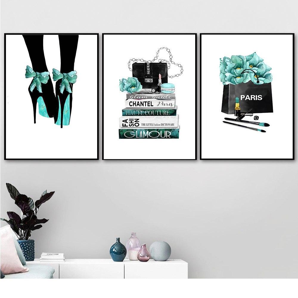 Moda 2020, pinturas artísticas de pared para mujer en la pared, pinturas de lona de tacón alto de diseñador de lujo, pósters de decoración del hogar, decoración de pared