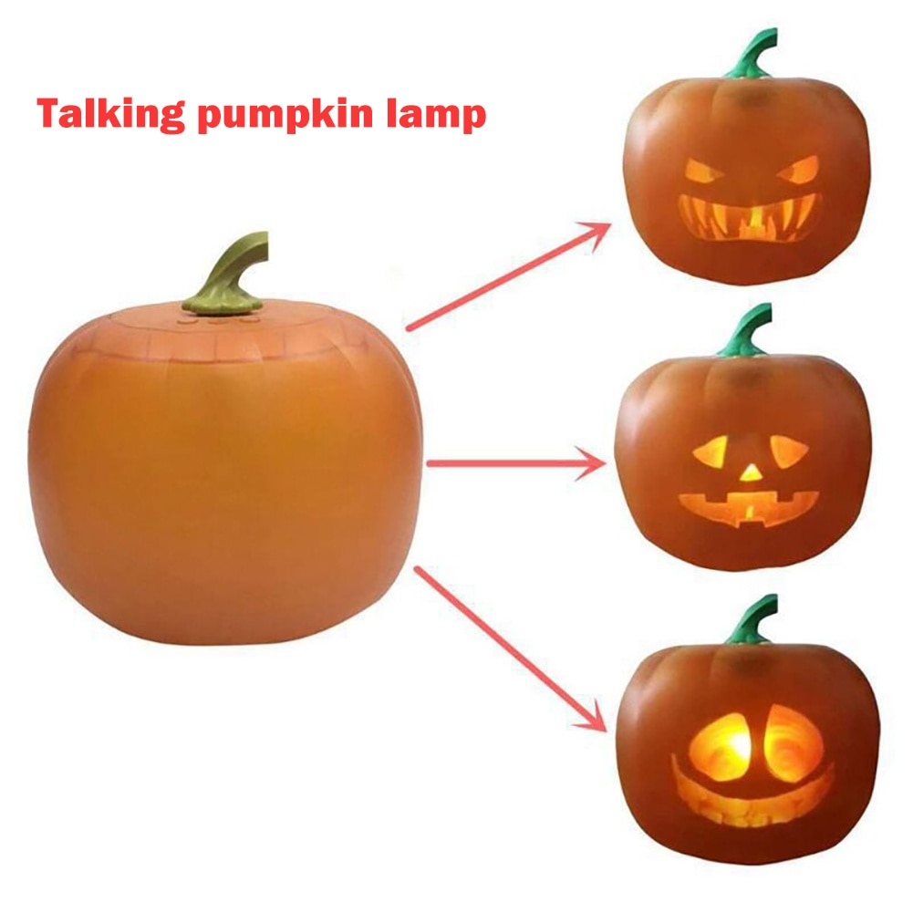 2022 New Flash Talking Animated Pumpkin Lantern Projection Lamp Kids Singing Toy Halloween Decoration Props Gift Projector US/EU
