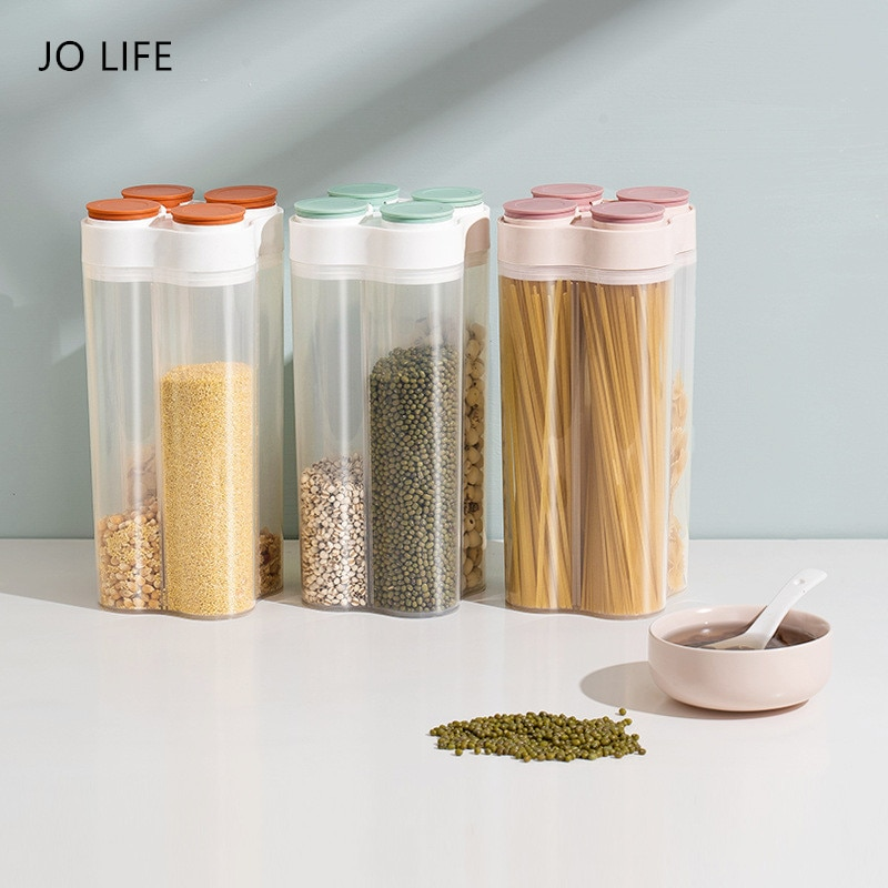 JO LIFE 4 Grid Plastic Cereal Dispenser Refrigerator Grains Food Storage Tank Transparent Sealed Storage Box Kitchen Tools