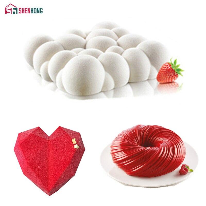 SHENHONG 3 قطعة دوامة الحب سحابة سيليكون كعكة العفن للخبز الماس القلب قوالب الحلوى موس تزيين المعجنات عموم