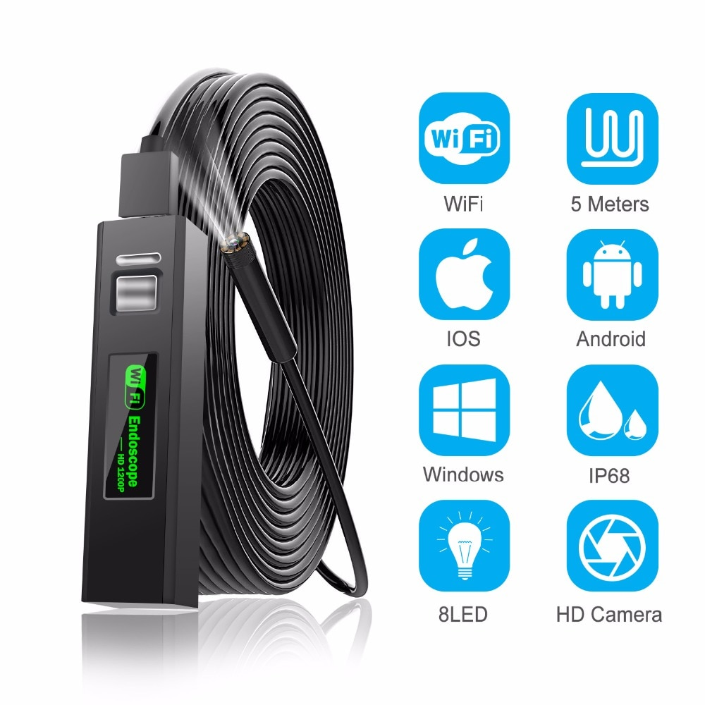 Endoscope Camera 3.9mm/8mm Wireless Endoscope 2.0 MP HD Borescope Rigid Snake Cable for iPhone Android Samsung Huawei Tablet PC