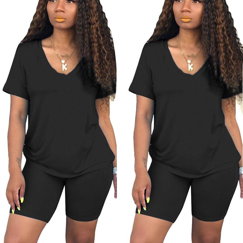 champion women s vapor® powertrain short sleeve tee set of 2 2020 New Women Short Sleeve O-Neck Tee Top Pencil Shorts Suits Two Piece Set Sporty Active Tracksuit Outfit