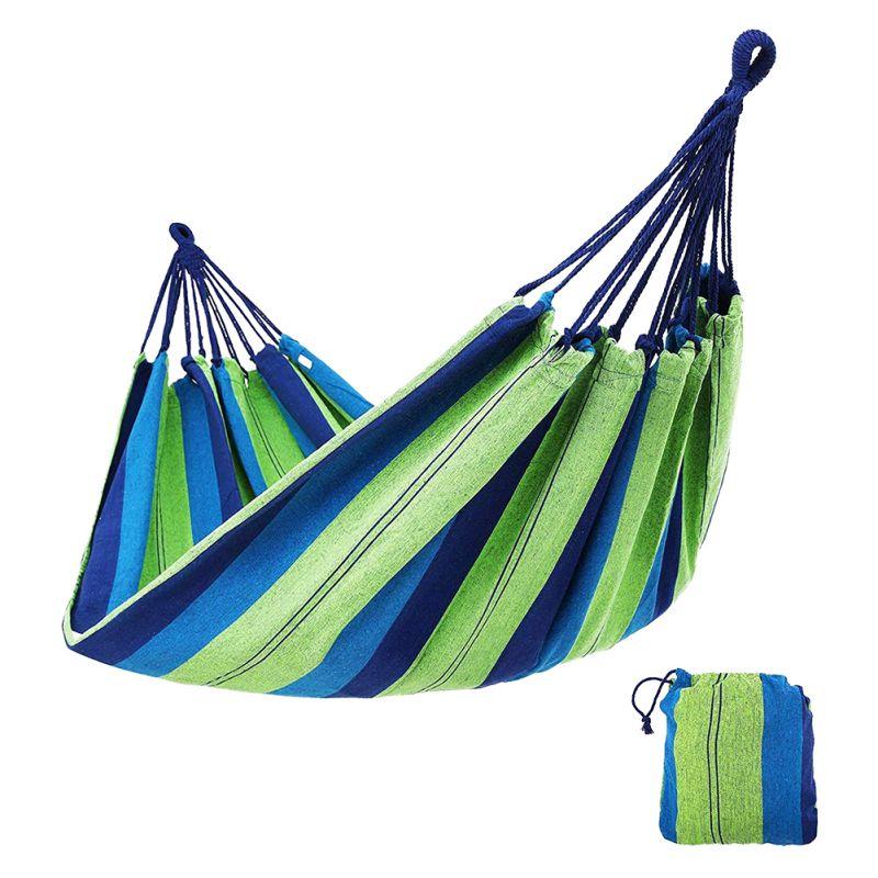 Hamaca SILLA DE columpio portátil de lona para exteriores cama colgante de Camping para patio trasero porche viaje camas dobles-hamaca algodón con bolsa
