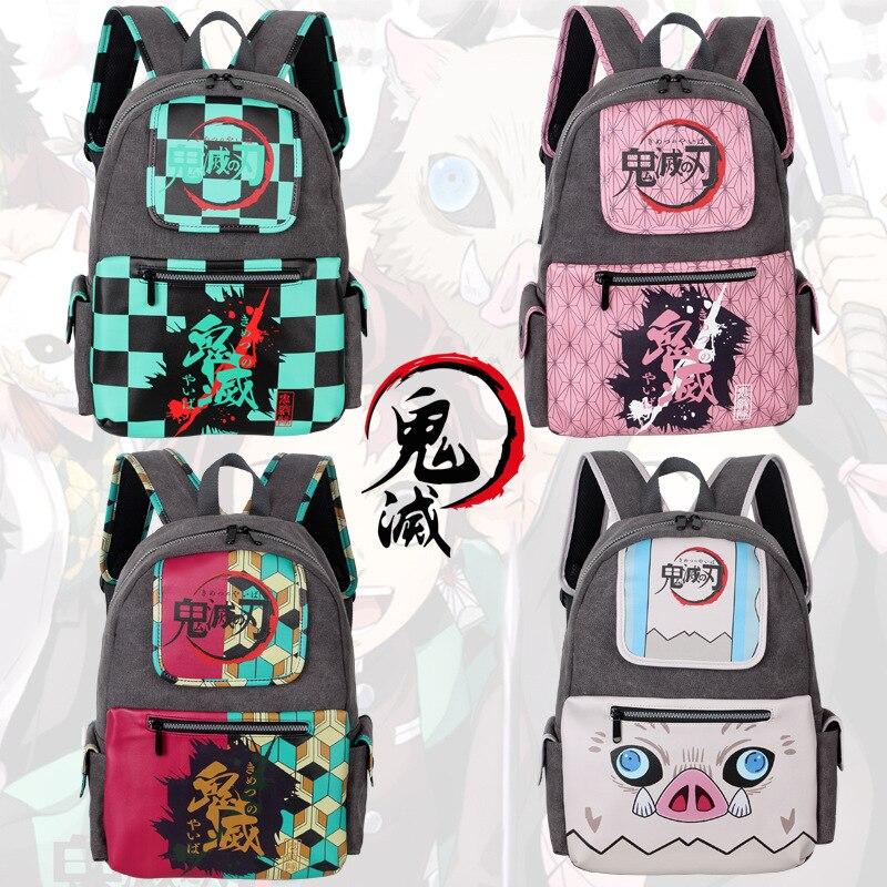 Рюкзак тканевый для студентов, рюкзак для компьютера с изображением рассекающего демонов киметсу-нет яибы, незуко танджиру, Аниме Манга, дл...