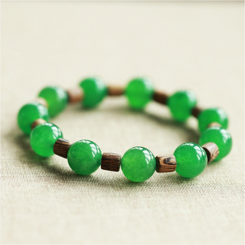 8/10mm Natural Green Jadeite Round Bead Bracelet Wood Bracelets Bangles Gift for Women's Jades Stone Braeclets