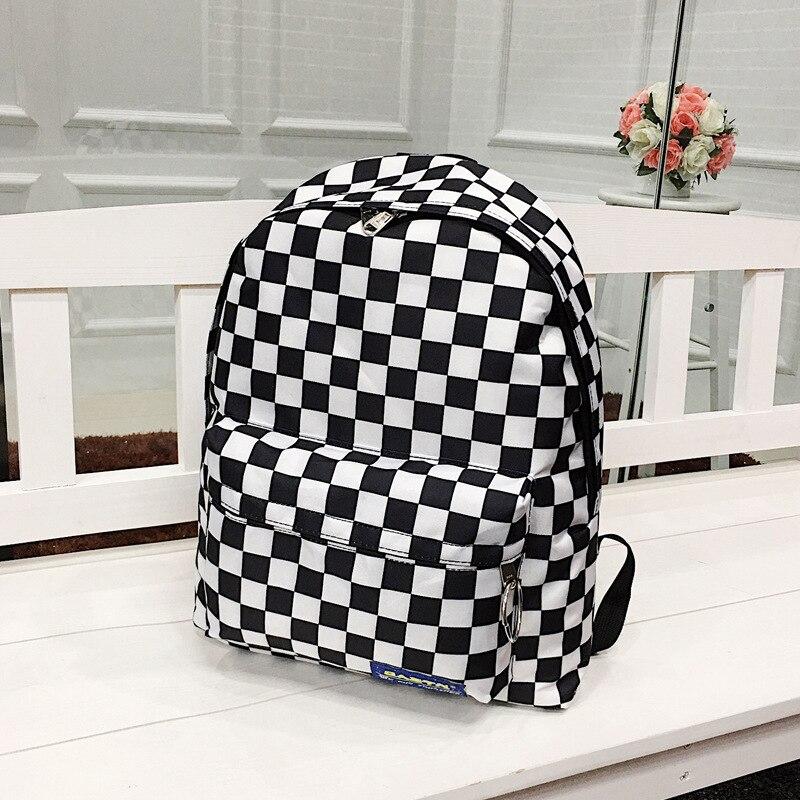 Унисекс, клетчатый нейлоновый женский дорожный рюкзак, рюкзак для ноутбука, Женский школьный Повседневный Рюкзак, женская сумка