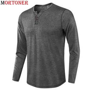 Men's Gray Casual Front Placket Basic Henley Tshirt 2021 Brand New Long Sleeve Slim Fit T-shirt Men Soft Cozy T Shirt Male
