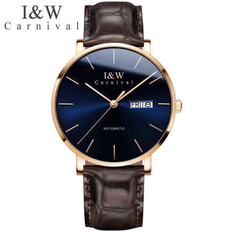 Carnival Brand Luxury Automatic Watch Men Fashion Waterproof Business Calendar Mechanical Wrist Watches Clock Relogio Masculino