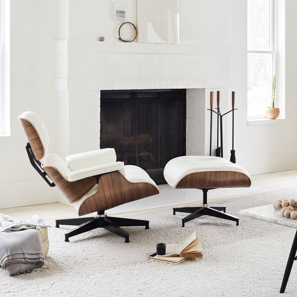 Furgle Wit Lederen Fauteuil Met Voetenbank Wit Palisander Chaise Klassieke Lounge Stoel Real Leather Reproductie Lounge Stoel
