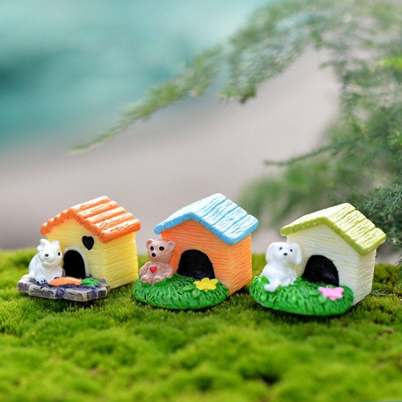 Minicasa de resina con diseño de perro y oso, casa en miniatura para construir Micro estatuillas de hadas de jardín, terrario, casa de muñecas, decoración, adornos DIY