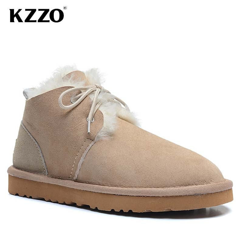 KZZO Australian Classic Sheepskin Leather Snow Boots For Women Natural Wool Fur Lined Ankle Winter Warm Shoes Casual Flat Boots