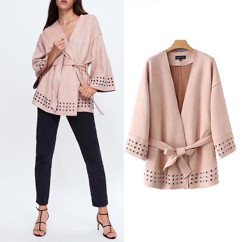 Jaqueta feminina elegante veludo faixas 2019 za jaqueta de manga longa faixas elegante casaco feminino