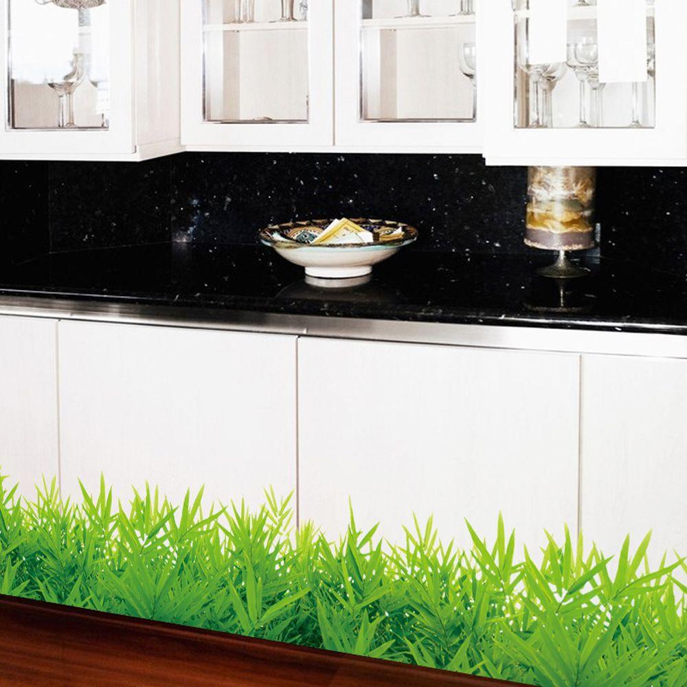 3D свежие зеленые наклейки на стену с изображением травы плинтус ПВХ на плинтус, для детской гостиной, спальни, ванной комнаты, кухни, питомника, балкона, домашнего декора