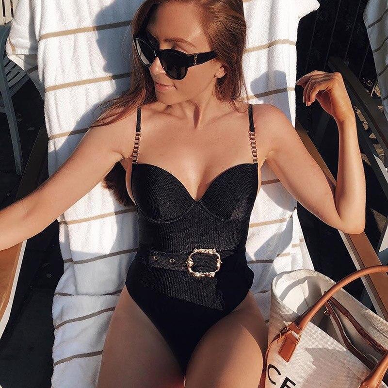 Monokini bañador con cinturón acanalado para mujer, traje De baño con realce, bañador De una pieza, traje De baño para mujer