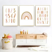 modern rainbow alphabet nursery wall art pictures print posters baby girls room home decoration canvas painting poster