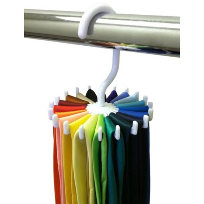 Porte-cravate Portable en plastique 1 pièce   Support de cravates rotatif, cintre de ceinture en crochet pour écharpes, organisateur de vêtements pour hommes et femmes