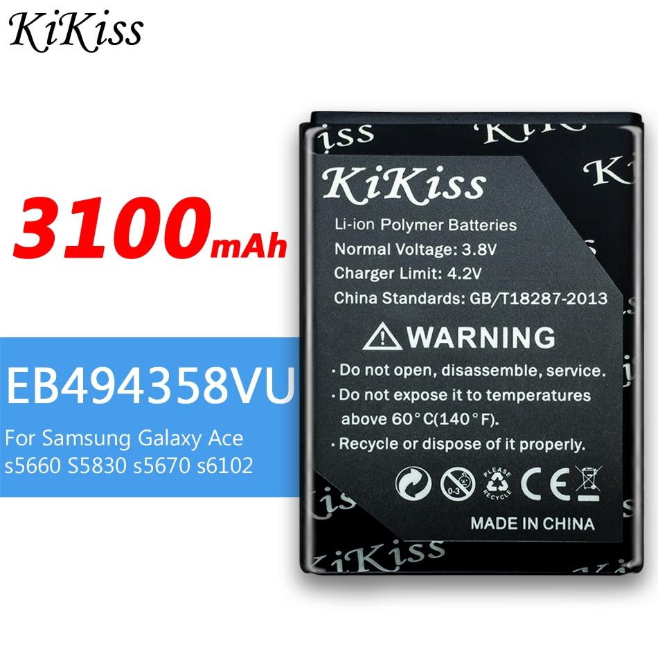 KiKiss EB494358VU 3100mAh batería para Samsung Galaxy Ace S5830 B7510 I569 I579...